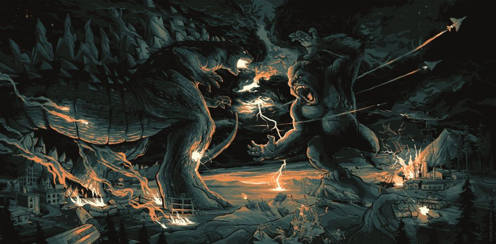 Godzilla-vs-King-Kong-by-Charlie-Layton hot monsterverse 2020 trailer