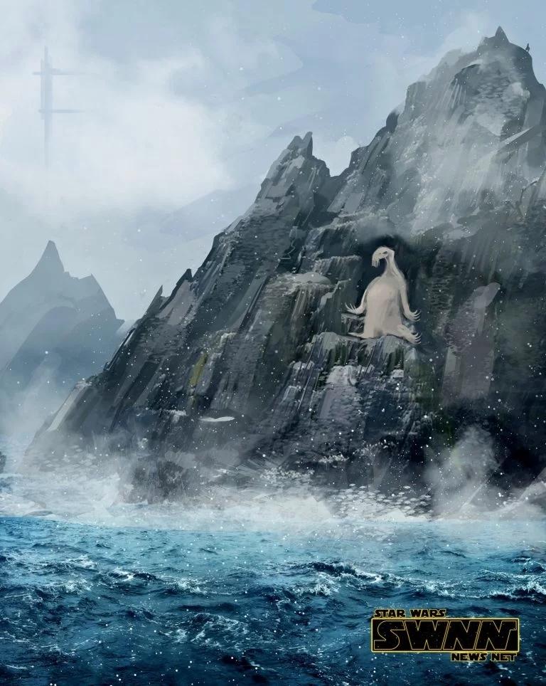Star-Wars-8-Ahch-To-Sea-Creature the last jedi mostro marino sea monster luke hot